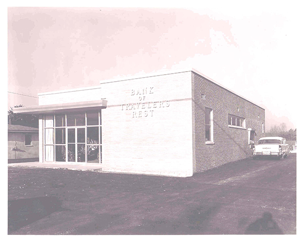 Photo of bank building opened in 1956